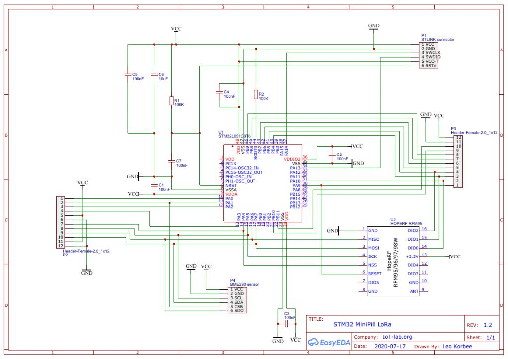 Schematic of MiniPill LoRa